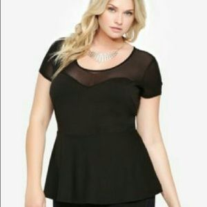 Torrid Peplum Sweetheart Neck Mesh Detail Top. 4.